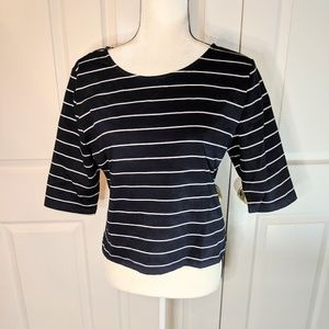 Philosophy striped zip back top Large